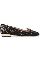 Charlotte Olympia Kitty Embellished Embroidered Suede Ballet Flats Black