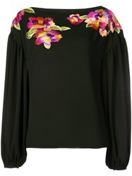 Josie Natori Embroidered Flower Blouse Black