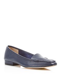 Bettye Muller Grained Leather Loafers Navy