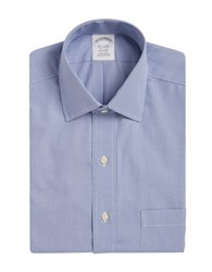 Brooks Brothers Houndstooth Print Dress Shirt Blue