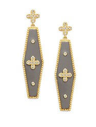 Freida Rothman 14K Yellow Gold Vermeil Clover And Sterling Silver Geometric Bar Earrings Gold Silver