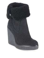 Moncler Regine Shearling And Suede Wedge Booties Black