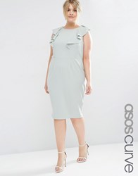 Asos Curve Wiggle Dress With Ruffle Sage Green