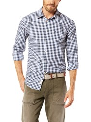 Dockers Poplin Gingham Laundered Shirt Dark Blue White