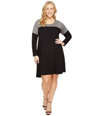 Karen Kane Plus Size Color Block Maggie Trapeze Dress Black Grey Women's Dress