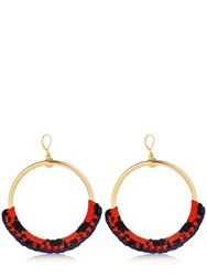 Missoni Iconic Chain Braided Hoop Earrings Gold Orange