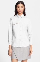 Carven Button Front Poplin Shirt
