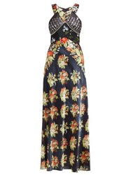 Paco Rabanne Embellished Bodice Floral Print Satin Slip Dress Black Multi