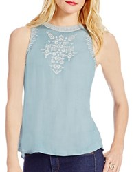 Jessica Simpson Embroidered Sleeveless Top Smoke Blue