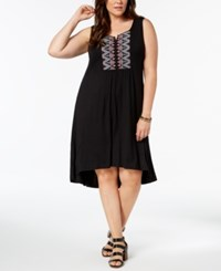 Styleandco. Style Co Plus Size Embroidered Swing Dress Black