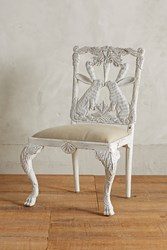 Anthropologie Handcarved Menagerie Rabbit Dining Chair White