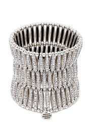 Philippe Audibert 'Almond' Swarovski Crystal Three Row Plate Elastic Bracelet Metallic