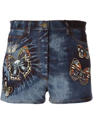 Valentino 'Tie And Dye Japanese Butterfly' Denim Shorts Blue