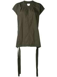 Dkny Oversized Top With Drawcords Women Nylon Spandex Elastane Rayon Viscose Xs S Green