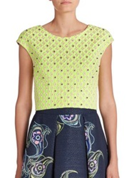 Phoebe Couture Embroidered Jacquard Cropped Top Green Multi