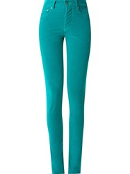 Amapa High Waisted Velvet Skinny Trousers Green