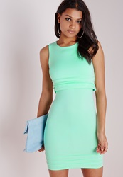 Missguided Scuba Overlay Bodycon Dress Mint Green