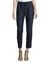 Calypso St. Barth Enosa Floral Lace Ankle Pants Navy Cc