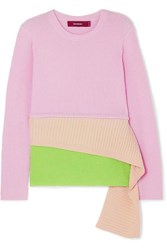 Sies Marjan Sae Layered Ribbed Wool And Cashmere Blend Sweater Pastel Pink
