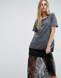 Asos T Shirt With Chain Detail In Wash Charcoal Grey