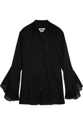 Maison Martin Margiela Mm6 Ruffled Pintucked Cotton Voile Shirt Black