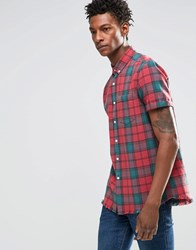Asos Check Shirt With Acid Wash In Short Sleeve Red Navy
