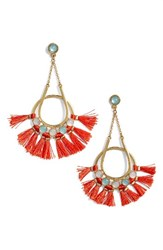 Rebecca Minkoff Women's Utopia Tassel Chandelier Earrings Turquoise Red