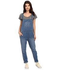 Roxy Sea Foam Denim Overalls Medium Blue Wash Women's Overalls One Piece Black