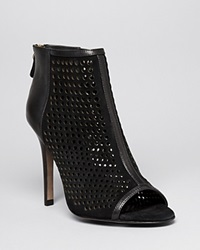 Rebecca Minkoff Open Toe Platform Booties Moss High Heel Black