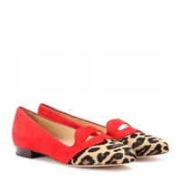 Charlotte Olympia Bisoux Suede Slipper Style Loafers Red Leopard