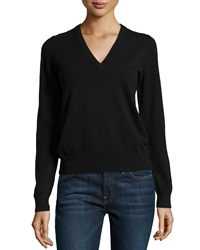 Michael Kors Cashmere Long Sleeve V Neck Sweater Black