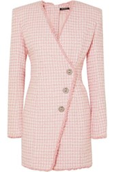 Balmain Wrap Effect Button Embellished Tweed Mini Dress Pink