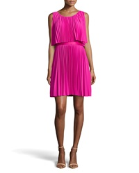 Halston Scoop Neck Plisse Cocktail Dress Petunia