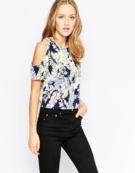 Girls On Film Cold Shoulder Top In Floral Multi