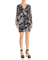 Guess Rhodes Metallic Floral Print Dress Magnolia Night Print Jet Black
