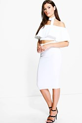 Boohoo Neck Tie Top And Midi Skirt Co Ord Ivory