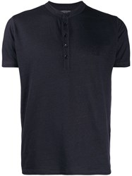 Majestic Filatures Henley T Shirt Blue