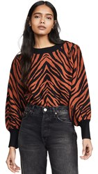 Moon River Zebra Sweater Rust Black