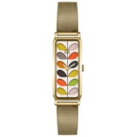 Orla Kiely Women's Rectangular Stem Mesh Bracelet Strap Watch Gold Multi