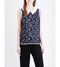 Clu Embroidered Lace Panel Stretch Cotton Top Grey