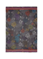 Franco Ferrari Floral Polka Dot Wool Silk Scarf Multi Colour