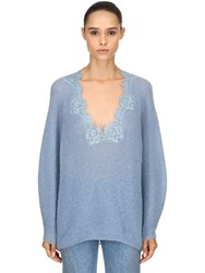 Pink Memories Oversized Lace And Mohair Blend Sweater Light Blue