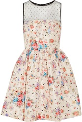 Red Valentino Floral Print Taffeta Mini Dress