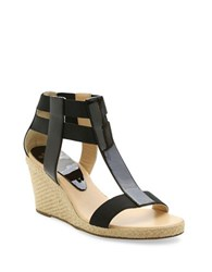 Andre Assous Pippi Patent Leather Wedge Sandals Black
