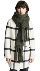 Free People Jaden Ribbed Fringe Blanket Scarf Green