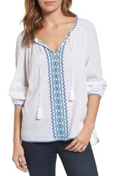 Nydj Women's Embroidered Peasant Blouse