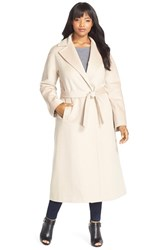 Plus Size Women's Fleurette Notch Collar Wool Wrap Coat