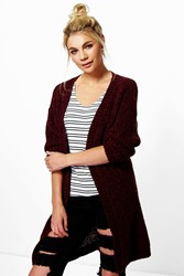 Boohoo Boucle Knit Edge To Edge Cardigan Burgundy