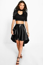 Boohoo Dipped Hem Full Leather Look Midi Skirt Black