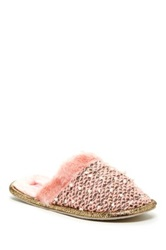 Isaac Mizrahi Liliana Slide Faux Fur Trim Slipper Pink